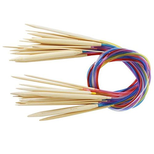 """Knitting Needles 18 Sizes Bamboo Circular Crochet Knitting with Colored Plastic Tube - Total Length 80cm/31.5"""" - Handmade Knitting Accessories"""