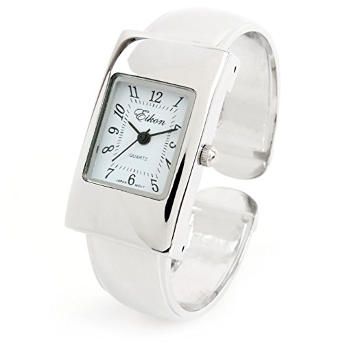 - FTW Silver Tone Rectangle Case Easy to Read Small Size Women's Bangle Cuff Watch