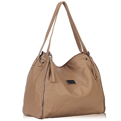 Hynes Victory Generous Women Handbag with Shoulder Strap Zipper Tote Large Hobo Bags