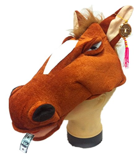 Funny Short Plush Lucky Spit Money Horse Creative Stereoscopic Mardi Gras Party Costume Hat (Brown) -