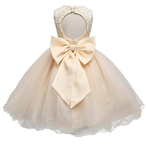 HotDresses Lace Tulle Flower Girl Dress Vintage Wedding Party Dress for Kids Sleeves Pageant Dress with Big Bow (Champagne, ()