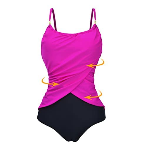 5e2a58dd13afa Zando Womens Slimming Tummy Control One Piece Swimsuit Retro Vintage  Monokinis Plus Size Swimwear Bathing Suits