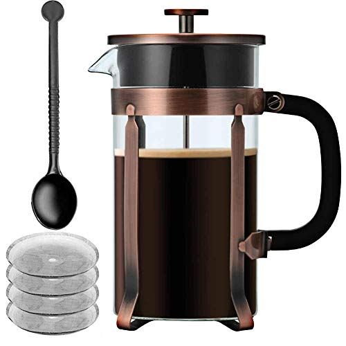 French Press Coffee Maker, IDEALHOUSE 34 oz/1 Liter/8 Cups Glass Coffee Press/Tea Press with 4 Filter Screens, Press Coffee Pot with Heat Resistant Borosilicate Glass, Durable and Eaasy Clean