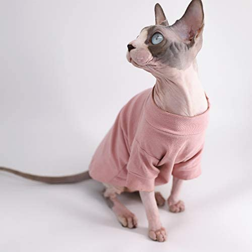 Sphynx Hairless Cat Cotton Tshirts Pet Clothes, Pullover Kitten T-Shirts with Sleeves, Cats & Small Dogs Apparel Solid Color 19
