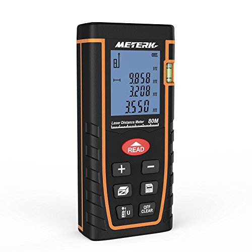 Meterk Handheld Digital Laser Distance Meter Portable Area Volume Measurement Tool Range Finder High-precision...