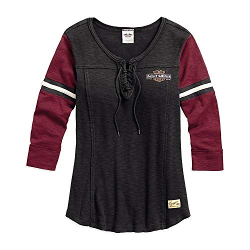 Harley-Davidson Official Women's Genuine Laced Neckline Tee, Black (Small) (Treated Lattice)