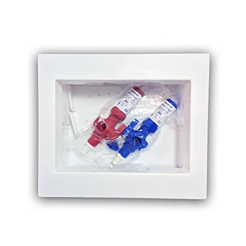 Ayrlett RB083 Un-Assembled Multi-Pro Washing Machine Box with 1/4 Turn Poly Alloy Valves and PEX Connection, Red/Blue
