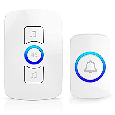 Wireless Doorbell ,MC Waterproof Remote Plug in Wireless Door Bell Chime Kit with LED Light, Operating at 820-feet Range ,1 Receiver and 1 Push Button,32 Chimes (White)