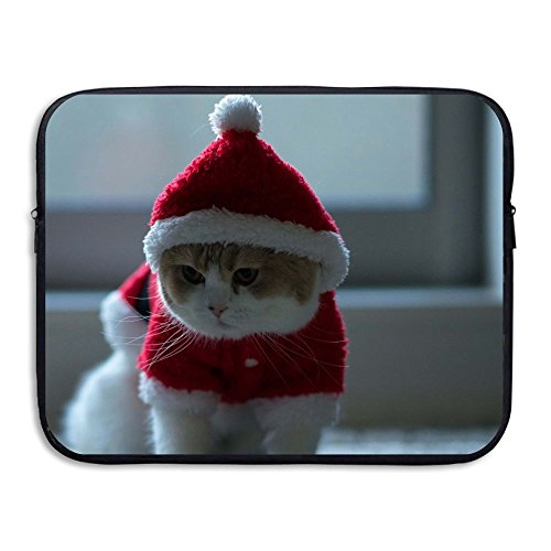 [Laptop Sleeve Case Protective Bag Santa Claus Cute Cat Printed Ultrabook Briefcase Sleeve Bags Cover For 13 Inch Macbook Pro/Notebook/Acer/Asus/Lenovo Dell/Women/Men] (Cat Costume Gif)