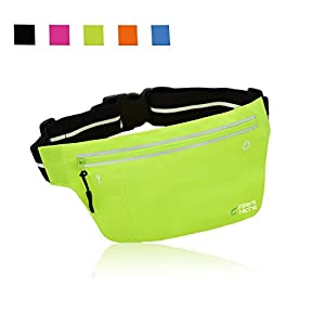 Fitter's Niche UltraSlim Fitness Sport Running Belt Fanny Pack, Water Resistant, 360 Degree 3M Reflective Adjustable Waistband, for Smartphone Android iPhone up to 6 inches, Fluorescent Green