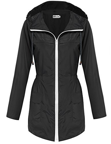 (HOTOUCH Women Rain Mac Parka Fishtail Festival Raincoat Hooded Jacket(Black,M))
