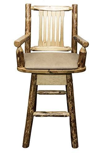 Montana Woodworks MWGCBSWSCASBUCK Glacier Country Collection Captain's Barstool with Back & Swivel with Upholstered Seat, Buckskin Pattern