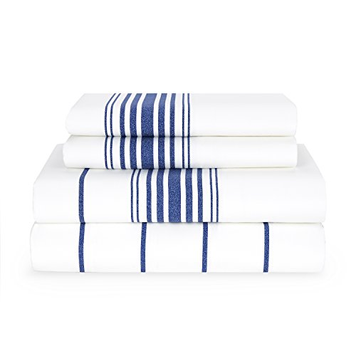 Tommy Hilfiger Baja Stripe Sheet Set, Queen, White/Navy