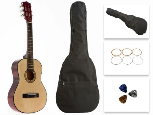 Star Kids Acoustic Toy Guitar 31 Inches Natural with Bag, Strings & Picks, CG5126-BSP-NT by Star