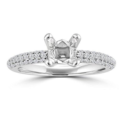 14k Gold 1/2ct Diamond Semi Mount Micropave Engagement Ring Fits (Semi Mount)