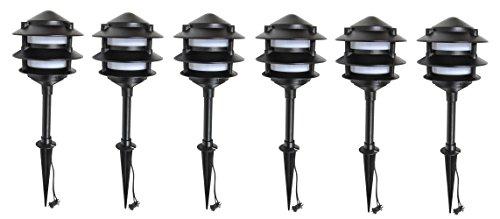 6 Pack Malibu 8401-9203-06 LED Cast Metal Pagoda 3-Tier Lights, Low Voltage, 1.4 watts, for Pathways, Yards, Landscapes w/ Black Finish BY MALIBU DISTRIBUTION