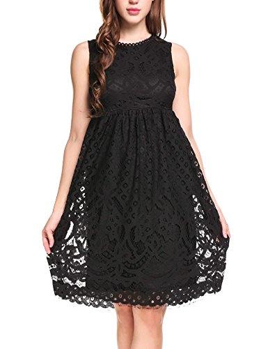 Floral Empire Mini - Zeagoo Women Sleeveless Vintage Sheer Floral Lace Mini Flare Party Prom Dress Style 1: Black X-Large