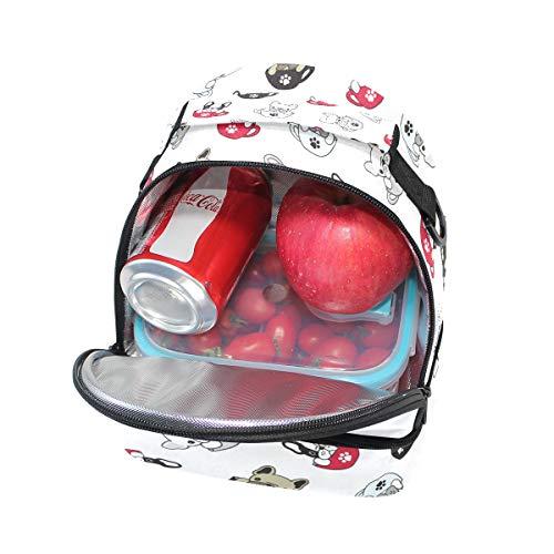 pincnic huellas con para correa Alinlo de perros almuerzo la estampado para aislante para de de el Bolsa y con hombro ajustable escuela wXX8qA1