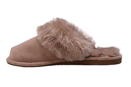 W74 Femmes Pantoufles Chaussons Peau Beige Luxe de Double avec Chaud Manchette Laine Vogar Mouton ayZq7daA