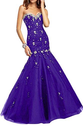 Ivydressing Abendkleid Steine Violett Spitze Ausschnitt Herz Festkleid Mermaid Damen amp;Tuell Sexy Promkleid rXv1rA