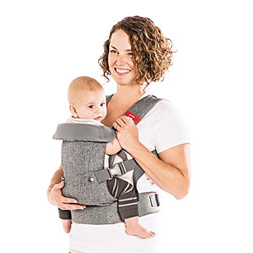 (You+Me 4-in-1 Convertible Baby Carrier with 3D Cool Air Mesh - Heather Grey - Wear with a Newborn as Small as 8 lbs, and Infants up to Toddler of 32 pounds. )