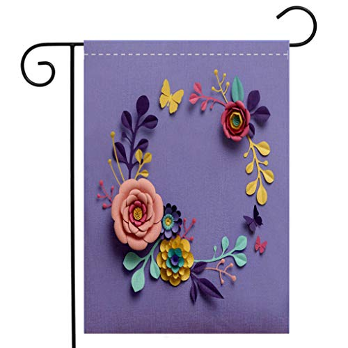 Custom Double Sided Seasonal Garden Flag 3d rendering abstract papercraft floral wreath botanical background paper flowers round frame Garden Flag Waterproof for Party Holiday Home Garden Decor
