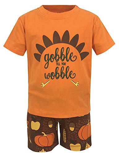 Unique Baby Boys Gobble Til You Wobble Thanksgiving Turkey Outfit Shorts (2t) Orange ()