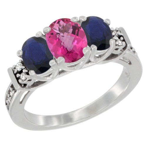 14K White Gold Natural Pink Topaz & Blue Sapphire Ring 3-Stone Oval Diamond Accent, size 7