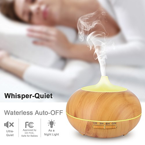 Essential Oil Diffuser, 550ml Wood Grain Multifunctional Ultrasonic Aromatherapy Fragrant Oil Vaporizer Humidifier with Adjustable Mist, 4 Timer Settings, 7 Color LEDs, Waterless Auto Shut-Off by HACME (Image #5)