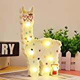 WHATOOK Safety Llama Toys for Kids Wall Decoration Night Lamp for Room,Bedroom,Home, Christmas(Battery Operated) (White Llama Love)