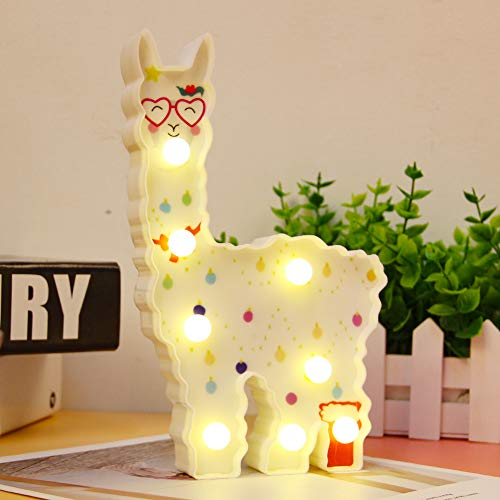 WHATOOK Safety Llama Toys for Kids Wall Decoration Night Lamp for Room,Bedroom,Home, Christmas(Battery Operated) (White Llama Love) by WHATOOK