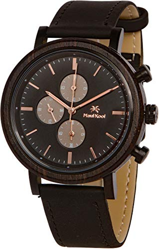 Maui Kool Steel and Wood Hybrid Chronograph Watch for Men Wailea Collection Leather Band Bamboo Box (W3 - Black and Rose Gold)