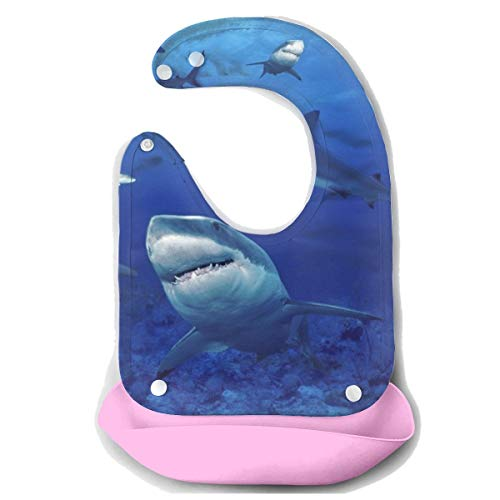 YongColer Silicone Bib Drooling Bibs Easily Wipes Clean Waterproof Baby Mouth Towel Cute Baby Boys and Girls Gift Keep Stains Off Shark Swim Blue Ocean