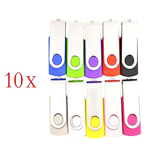 FEBNISCTE 100 Pack Swivel 256MB USB Flash Drive 10-Color Assorted by FEBNISCTE