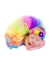 Newborn Photo Props, Photography Props, Rainbow Dress with Headwear - Polychrome