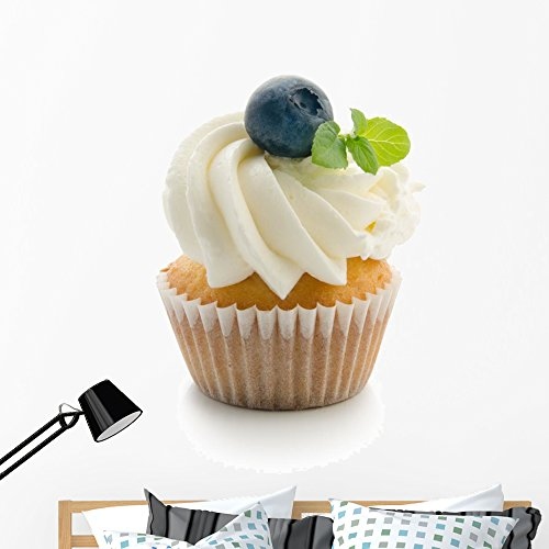 Wallmonkeys Cupcake with Blueberries and Mint Flavoured Cream Background Wall Decal Peel and Stick Graphic WM359596 (48 in H x 48 in W)