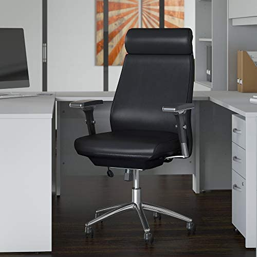 Bush Business Furniture Metropolis High Back Leather Executive Office Chair in Black