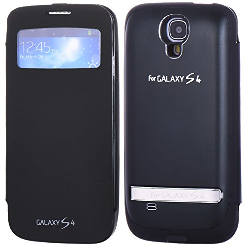 3200mAh Portable USB External Rechargable BAIDATONG Backup Battery Power Bank Charger Flip Case Cover For Samsung Galaxy i9500 S4 Black (Belt Holster-black) (Samsung Mini Battery Case compare prices)