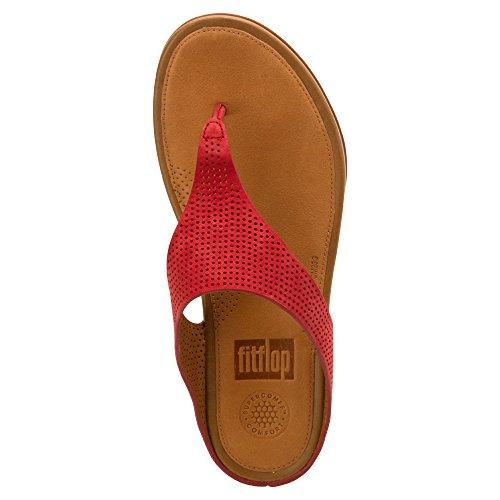Fitflop Banda de la mujeres Perf nobuck toe-thong sandalias Dusty Red
