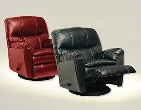 Catnapper Cosmo Leather Swivel Glider Recliner Chair in Red (Catnapper Recliner Rocker)