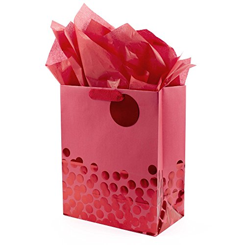 Hallmark 13 Large Gift Bag with Tissue Paper (Red Foil Dots) for Christmas, Birthdays, Valentines Day, Sweetest Day or Any Occasion
