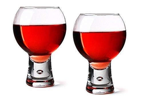 - Alternato Wine Glasses 14oz / 410ml - Pack of 2 | Red Wine Glasses, Short Stem Glasses, Bubble Base Glasses from Durobor