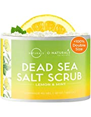 O Naturals Exfoliating Dead Sea Salt Natural Organic Lemon Essential Oil Face Body & Foot Scrub. Hydrating Moisturizer Reduce the Look of Cellulite Hydrates Dry Skin for Men & Women 500gr