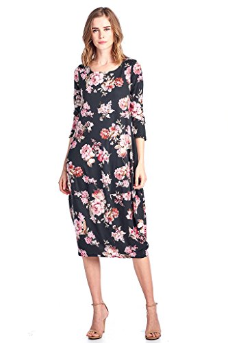 12 Ami Floral 3/4 Sleeve Bubble Hem Pocket Midi Dress Black M - Bubble Hem Mini Dresses