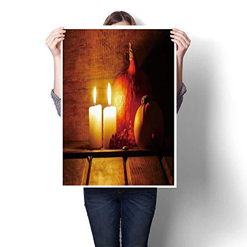 SCOCICI1588 3D Hand Painting,Two Candles Burning in Wooden hut Big Orange Pumpkin in The Background Halloween Setting Wall Art for Hallway Bathroom,44
