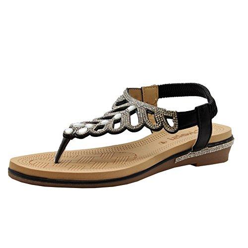 Ladies Womens Low Wedge Diamante Summer Party Comfy Toe Post Sandals Shoes Size 3-8 Black fk0kQEGCl