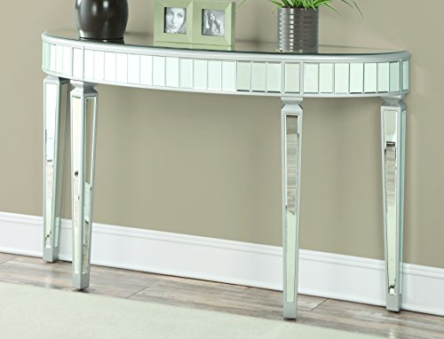 Coaster Home Furnishings Half Oval Mirrored Console Table Silver (Table Room Mirrored Dining)