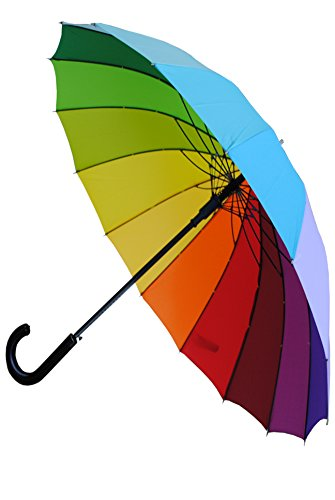 COLLAR AND CUFFS LONDON - Windproof 60MPH - 16 Ribs For SUPER-STRENGTH - EXTRA STRONG - TRIPLE LAYER Reinforced Frame With Fiberglass - StormProtector Straight Umbrella - Auto Open - Rainbow Canopy -