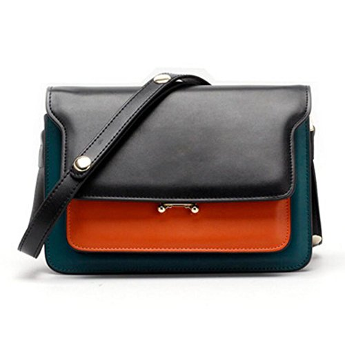 Actlure Orange Women Green Bag Leather body Black Cowhide Cross Purse Trunk Split 6fnwqrxv6