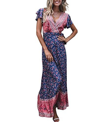 Xmasgifts Women's Summer Boho Maxi Dresses Flare Wrap V Neck Floral Print Ruffle Short Sleeves Dress
